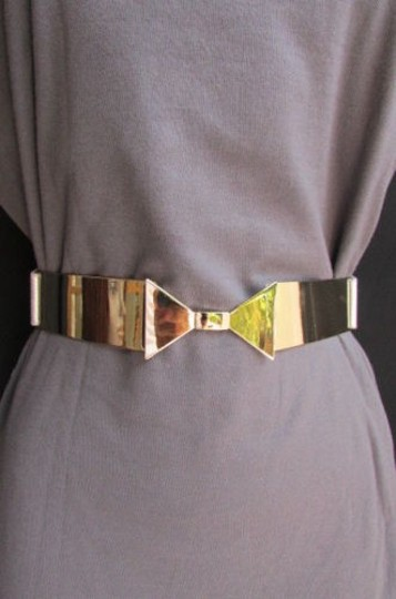 Other Women High Waist Hip Gold Metal Plate Bow Belt Silver Elastic 26-35