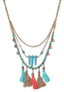 T&J Turquoise Triple Layer Pom Pom Necklace