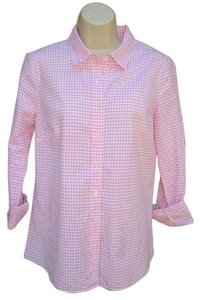 J.Crew Button Front Gingham Perfect Cotton Button Down Shirt Pink