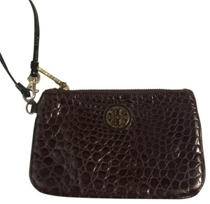 Tory Burch Croc Embossed Leather Wristlet