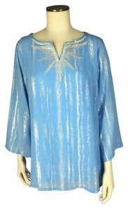 Bob Mackie Split Neck Georgette Top Blue