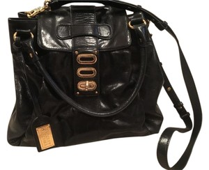 Badgley Mischka Glossy Leather Gold Hardware Satchel in Black