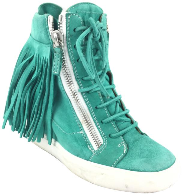 Item - Green Suede Fringe High Top Wedge Sneakers Size EU 37.5 (Approx. US 7.5) Regular (M, B)