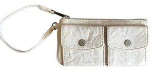 A|X Armani Exchange Leather Wristlet in White