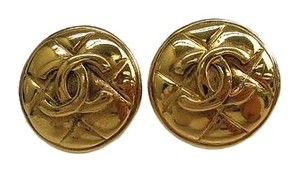 Chanel CHANEL C C QUILTED CLIP-ON 18KT GOLD-PLATED EARRINGS