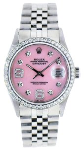 Rolex Datejust 36mm Stainless Steel Pink Dial Diamond Bezel Watch 1.25 Ct