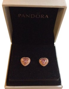 PANDORA Pandora Sparkling Love Rose Gold Earrings