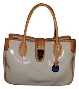 Dooney & Bourke & Patent Leather Off White Satchel in Bone/Off White/Tan/Red/Silver