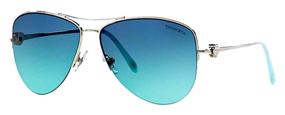 2fb40fe8d6e Tiffany   Co. Silver Blue Gradient Lens Tf 3021 60029s Aviator with ...