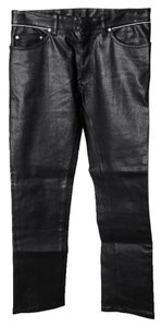 Balenciaga Mens Leather Pant Straight Leg Jeans-Dark Rinse