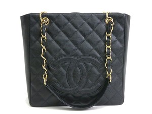 Chanel Caviar Leather Gold Tote in Black