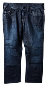 True Religion Mens Straight Leg Jeans-Dark Rinse