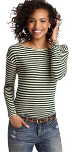 Ann Taylor LOFT Tee Striped Vintage T Shirt Green