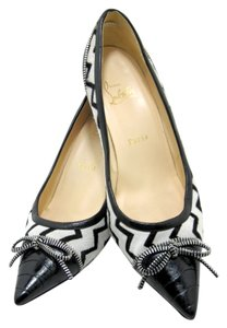 Christian Louboutin Red Bottoms Black and white Pumps