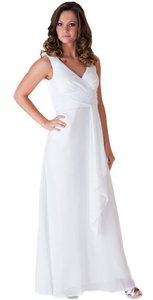 Long Chiffon Draping V-neck Wedding Dress
