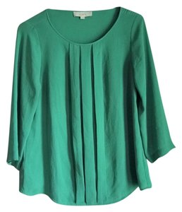 Ann Taylor LOFT Work Green Emerald Easy Pleated Top teal