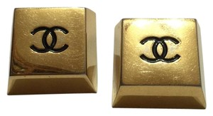 Chanel Chanel Vintage Gold Metal Cube Earrings