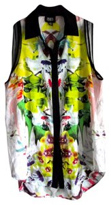 Prabal Gurung for Target Bright Sleeveless Work Abstract Button Down Shirt Green/multi