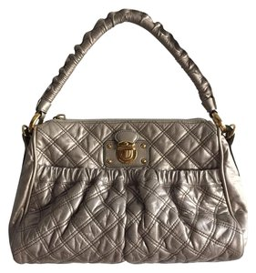 Marc Jacobs Metallic Leather Satchel in Silver