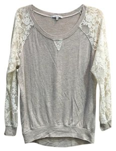 Cielo Top Oatmeal/White lace