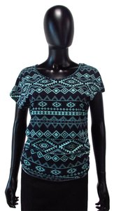Julie's Closet Patterned Lace Top Black and Blue