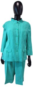 Apriori Linen Green/Blue Jacket and Capri Set with Camisole