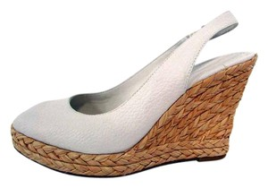 Banana Republic Textured Slingback Peep Toe Heels White Wedges