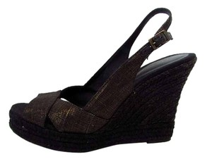 Banana Republic Shimmer Slingback Open Toe Bronze Wedges