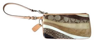 Coach Wristlet in Beige, brown, gold