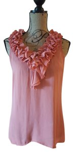 New York & Company Ruffle Sleeveless Top Peach