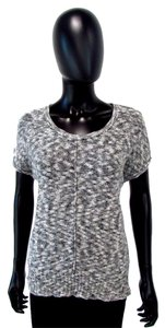 Pink Rose Crew Neck Knit Casual Top Gray