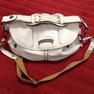 B. Makowsky Leather Pebbled Cross Body Satchel White Messenger Bag