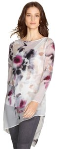 White House | Black Market Floral Tunic Top Red/Purple/Tan/Ecru