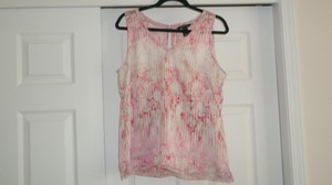 White House | Black Market Sleeveless Top Pink and White