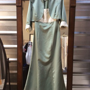 David's Bridal Ivory Green Dress