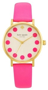 Kate Spade Bazooka Pink Dot Gold Tone Stainless Steel Metro Watch
