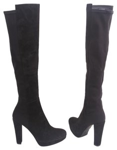 Stuart Weitzman Otk Over The Knee Demistrong Suede Suede Leather Black Boots