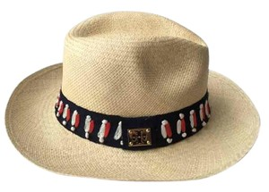 Tory Burch Tory Burch Top Stitch Fedora Natural Multi One Size