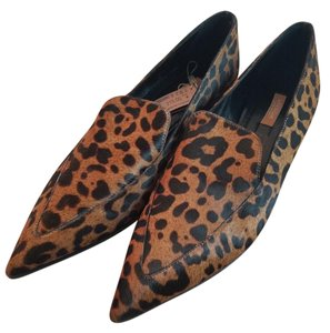 Uterqe Leather Brown Animal Print Flats