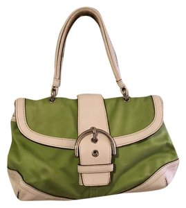 Coach Satchel in Lime Green Fabric and White Leather
