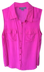 Tinley Road Button-down Sleeveless Top Neon Pink