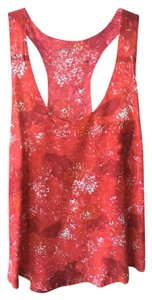 Joie Button-down Sleeveless Top Red (print)