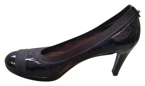Stuart Weitzman Patent Leather Chunky Black Pumps