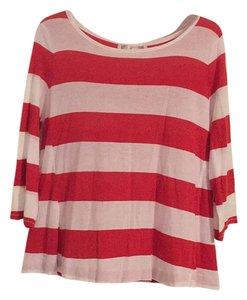 Ann Taylor LOFT Top Orange & White Stripped