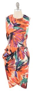 Ann Taylor Floral Draped Tulip Hem Dress