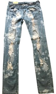 Machine Nouvelle Distressed Distressed Skinny Jeans-Distressed