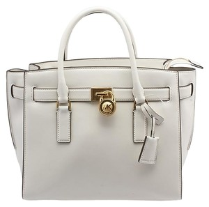 Michael Kors Leather Hamilton Tote in White