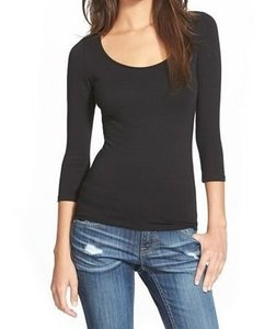 Frenchi 3-4-sleeve Basic-tee Color-black Condition-new-with-tags 3246-5604 T Shirt