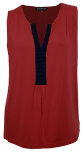 Jones New York Top Red & Navy Blue