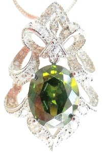 Green Topaz and White Topaz Pendant Sterling Silver Necklace